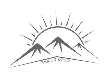 Mountains and the sun. Vector template for a logo, emblem or sticker, isolated on a white background. Flat style.