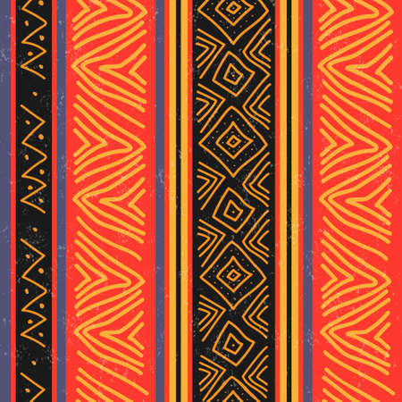 Seamless pattern on the theme of African ethnicity for textile textures and simple backgrounds. Flat style