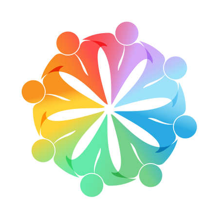 logo, sticker, or brand template to illustrate teamwork, social community, or leadership concepts. Flat design. Logo