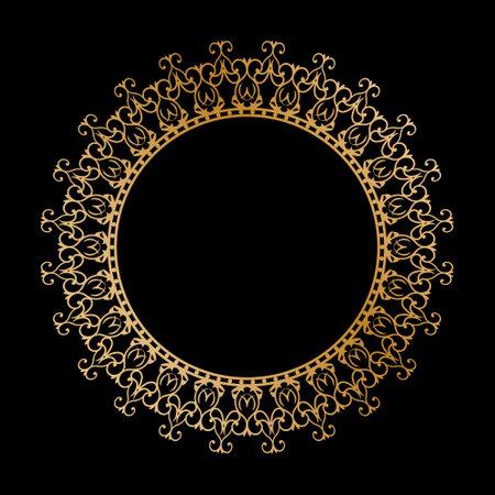Gold round openwork ornament. Decorative round frame. Elegant design, simple style