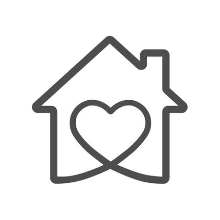 heart icon in the house. Vector illustration for websites and applications, for creative design. Flat style. Vektorgrafik
