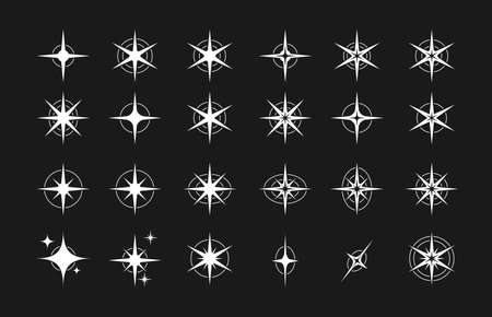 Stars. Set of editable stars icons with radiance for starry sky, fireworks decoration or decoration. Flat design Vecteurs