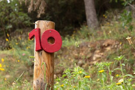 red placeholder number ten for a camping pitch