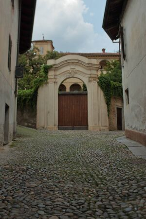 Wooden door of a stately building along an avenue with stone pavement, perfect middle age style
