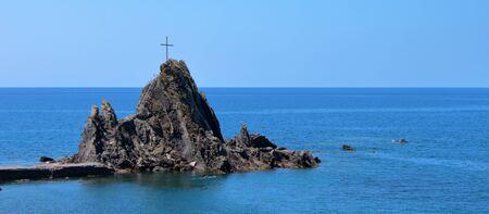Sant'Eremo, a small basaltic cliff near Cinque Terre, Liguria, Italy