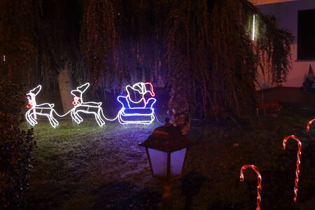 Garden of the stately home decorated for the Christmas holidays