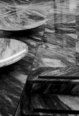 BW photo of a prestige and modern marble hall.