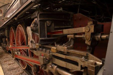 Coal locomotive exposition in museum of science, Milan, Italy Editorial