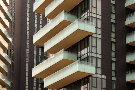 modern balconies cityscape in a financial quarter