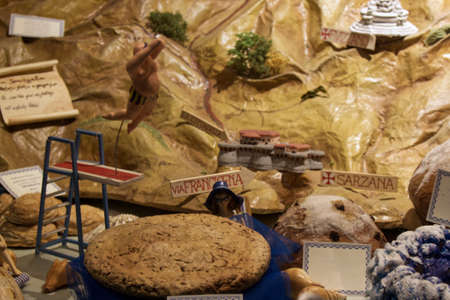 nice showcase of a pastry shop with typical Ligurian products in the gulf of poets