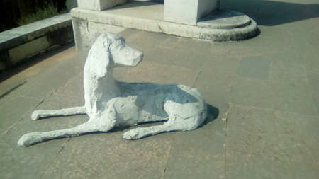 Vittoriale degli Italiani, Italy - March 2018: statue of a dog 報道画像