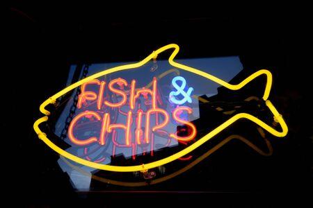 neon fish: Fish and chips neon light Stock Photo