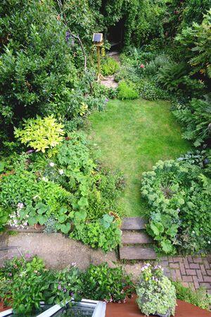 cottage garden: English cottage style garden taken from above