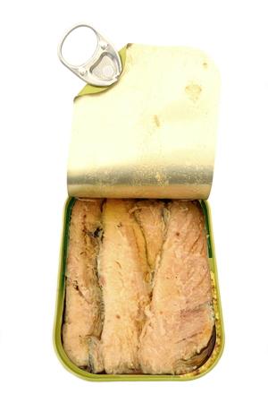 tin: Sardines in open tin Stock Photo