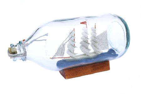 whitebackground: Boat in a bottle isolated in whitebackground