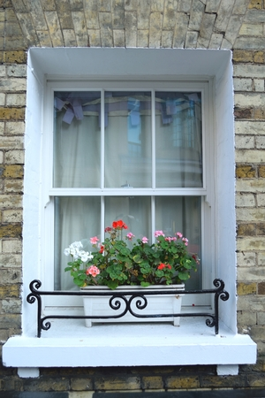 covent: Beautiful flower box in Covent Garden, London Stock Photo