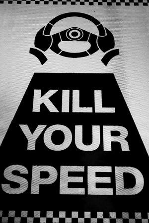 Closeup of traffic sign kill your speed