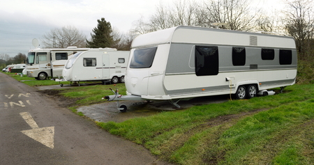 enfield: Group of mobile caravans parked in Enfield, London
