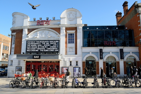 ritzy: London, United Kingdom- January 28, 2016: The Ritzy Cinema in Brixton which is unique colorful, multicultural area in South London famous by market, music, nightlife...