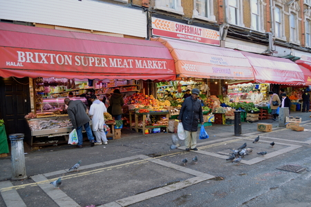 brixton: London, United Kingdom- January 28, 2016: Brixton is unique colorful, multicultural area in South London famous by market, music, nightlife... Editorial