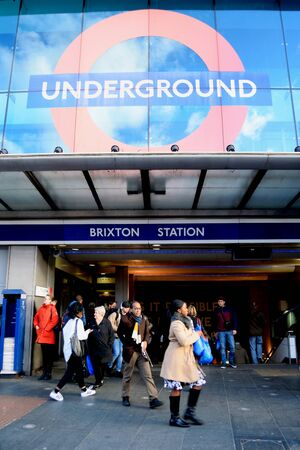 brixton: London, United Kingdom- January 28, 2016: London Underground station in Brixton which is unique colorful, multicultural area in South London famous by market, music, nightlife...