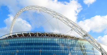 wembley: Wembley Stadium with famous arch in London, England