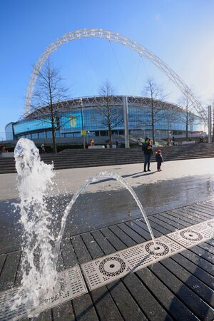 wembley: London, United Kingdom-February16, 2016:Wembley Stadium is opened in 207 on the site of Empire Stadium. With 90 000 seats it is largest stadium in UK. Editorial