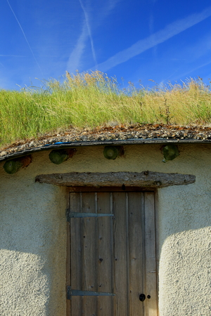 Building with green roof in village of Kilmington in East Devon