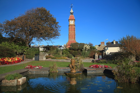 Jubilee Gardens with iconic Victorian Clock Tower in Seaton, East Devon