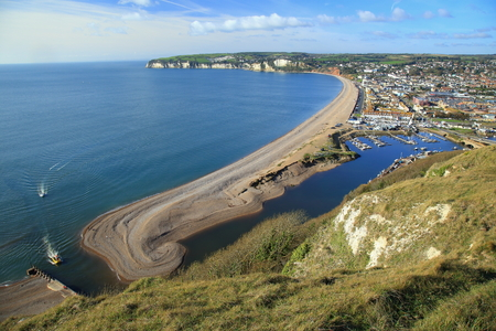 Jurassic Coast in town of Seaton in East Devon, England