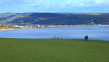 South West Coast Path with Seaton town in background