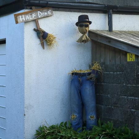 MUSBURY, UK - July 14th 2018:. Straw-filled frighteners around the streets of Musbury village in East Devon during a scarecrow festival staged on the weekend of July 14 and 15. Redakční