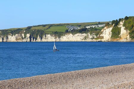 Pebble beach in town of Seaton, Devon on the Jurassic Coast