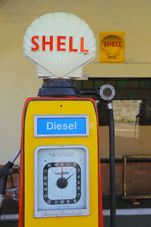 COLYFORD, DEVON, UK- MARCH 16, 2020: Vintage petrol filling station in village of Colyford, Devon, was built in 1927-8. Shell provided petrol to the station using 1950s Avery Hardoll pumps.