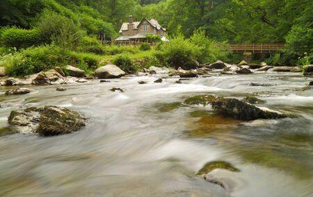 Watersmeet House and Easr Lyn River in Exmoor Nationl Park, Devon Stock fotó - 150294677