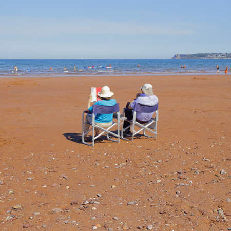 People enjoying summer vacation on the South Devon coast