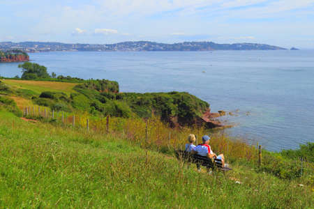 South West Coast Path near town of Paignton in Devon, UK