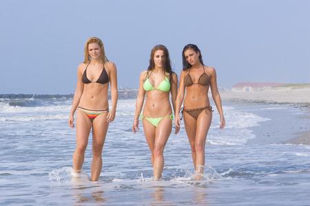 babe: Beautiful girls on the beach all in bikinis