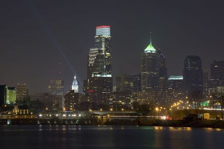 brotherly love: A beautiful view of the Philadelphia skyline at night. Stock Photo