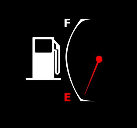 A illustration of a gas pump and empty fuel gauge