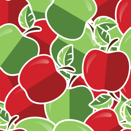 granny smith apple: Red and green apple sticker backgroundcard in vector format.