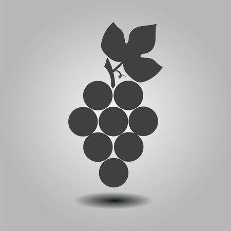 black grapes icon with shadow. isolated on stylish background. logo design modern vector illustration Illustration