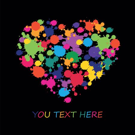 blots: Happy Valentines Day celebration concept with beautiful decorated heart shapes on  black background. Colorful vector Stains, Splashes, ink blots. Illustration