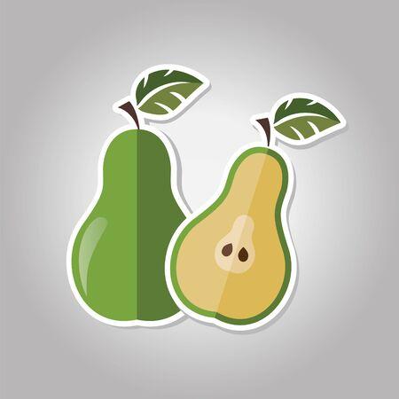 pear (half of pear)sticker. Vector illustration.