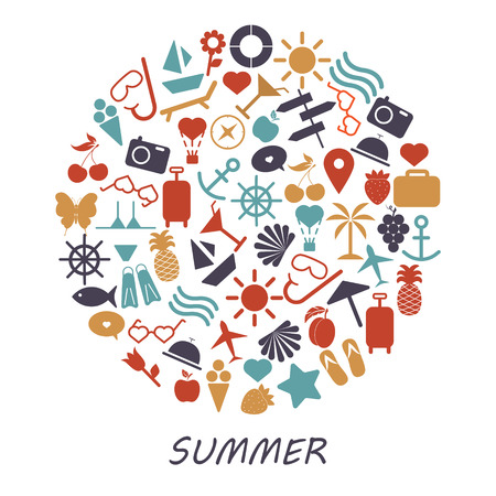 Colored summer symbols on a white background.- Illustration.