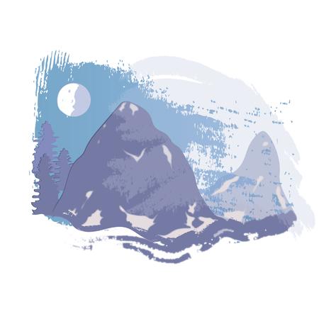 vector snowcapped mountain - Illustration Illustration
