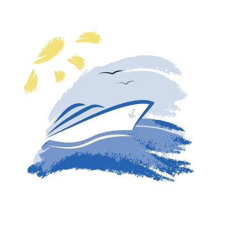 deportes nauticos: Yate - Ilustración Vectores