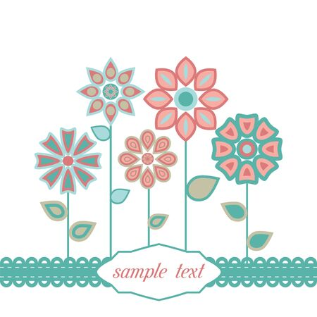 wrappers: Vector background with stylized flower, leaves. Invitation and greeting card with bunch of flowers. Decorative floral abstract illustration with text box for celebration and holiday.