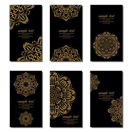 Set of business card and invitation card templates with lace ornament. Vector background. Indian, Islam, Arabic, ottoman motifs. Vintage design elements, or save the date hand drawn background.