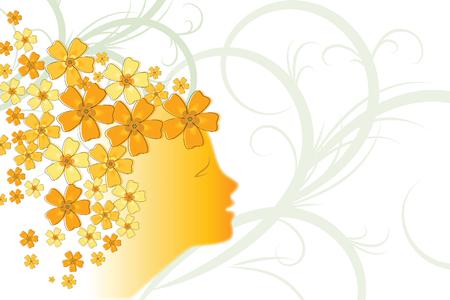 花のデザインに若い女の子の顔の創造的な図は、背景を装飾されています。